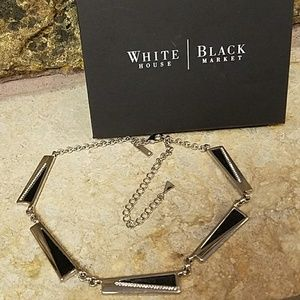 WHBM Silver / Leather Adjustable Necklace